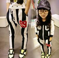 Wholesale Cotton Casual Girls Vertical Harem Pants White Black Children Haroun pants