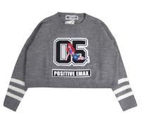 Unique Design Women Harajuku Street Fashion Spoof Alice Digital 05 Letter Applique Loose Cropped Sweaters 4 Colors Y-1118