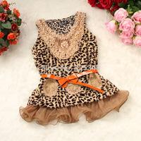 Retail- 2014 Autumn leopard newborn baby girls dress with belt,Party baby dresses,princess girls dresses vestidos de menina