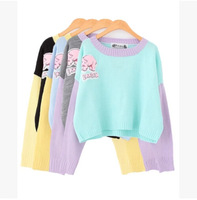 HOT! 4 Colors Women Harajuku Street fashion Cute Pink Elephant Letter Applique Loose Color Matching Cropped Sweaters Y-1119