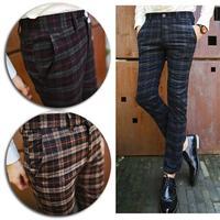 Mens Korean Stylish Plaid Casual Slim Skinny Stretchy Pencil Pants Golf Trousers