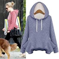 Sports Suit Casual Sweatshirt 2014 Female Plus Size Velvet Thickening Hooded Sweatshirt Dress Hoodie Women Tracksuits WW0022