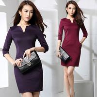 Fall / winter 2014 new Big yards dresses, cropped slim OL sleeve v neck black casual office women fashion dresses 6933