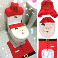 Excellent !3 PCs Christmas Decorations Happy Santa Toilet Seat Cover and Rug Bathroom Set