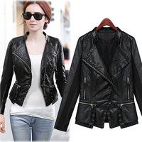 hot sale new 2014 European Style fashion jaqueta de couro feminina,female autumn motorcycle jackets