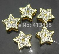 Wholesale 100pcs/lot 8mm rhinestones golden star slide charm fit for 8mm phone strips