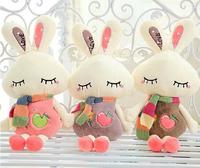45cm super cute soft plush scarf fruit love rabbit toy,stuffed small sleeping love bunny,Valentine&birthday gift for girls, 1pc