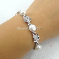 Free Shipping--Wholesale Fashion Jewelery Alloy Rhodium Plating Decorated With Natrual Freshwater Pearl Hand Bracelet  6pcs/lot