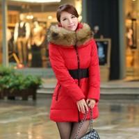 2014 Winter Women's Down Jacket Coat Thick Slim Female Fur Collar Long Coat Casual Parka Women Plus Size 3XL Free Shipping 8007