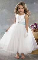 White Satin Tulle Light Blue Princess Flower Girl Dresses for Weddings Party Evening Vestidos 2-12 age with Peach Ruffled Hem