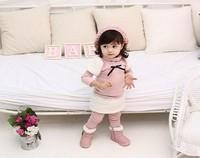 Free shipping 2014 autumn winter new children clothing set  fur Girls sweater+legging pants 2pcs suit 5sets/lot in stock