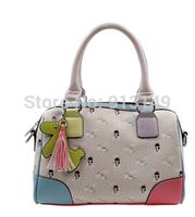 Lady zipper cartoon character sweet summer handbags cell phone pocket interior zipper pocket tassel women shoulder bags