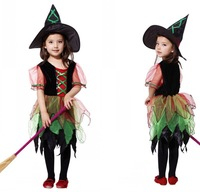 Retail hot sale 2014 Halloween costume kids children witch dress clothing halloween costumes for girls Christmas fancy dress