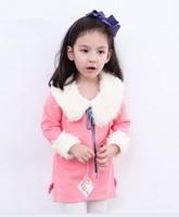 Free shipping 2014 autumn Winter new fur collar girls long sleeve t-shirts fashion fleece children sweater  5pcs/lot  in stock