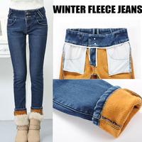 2014  New Women winter gold fleece Denim Jeans  High waist Thicken Warm Fleeces Pencil Pants thick boot Leggings Plus Size26-32