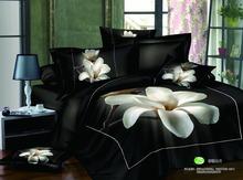 100% cotton 3d bed linen/white magnolia flower designer bedding sets/flower duvet cover flat sheet pillow case /king size(China (Mainland))