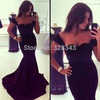vestido de festa 2014 Elegant Celebrity Sexy Sweetheart Short Sleeve Long Mermaid Cotton Occasion Women Evening Prom Party Gown