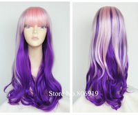 2014 best selling long ombre synthetic wigs with natural hair bangs about 26inch pink purple cosplay wigs curly purple wig