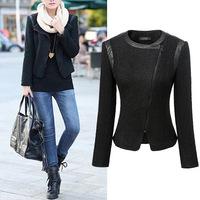 Leather stitching short woolen coat jacket zipper O-neck2014 NEW women jacket autumn overcoat  women's warm winter coat M L XL