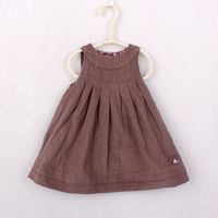 The new arrival spring 2014 kid girls fashion vest corduroy all matching dress