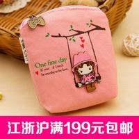 Wholesale fashion simple little fresh canvas purse wallet cartoon