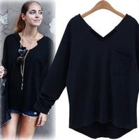 New fashion Spring Autumn Cotton Black  Long Sleeve Plus Size Casual loose blusas femininas a  t shirt Women t-shirt 2014