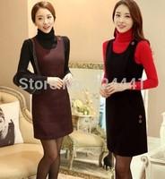 Women Winter Dresses Plus Size Casual Woolen Dress Autumn Winter One-Piece Tank Dress Work OL Woolen Outerwear Free Shipping