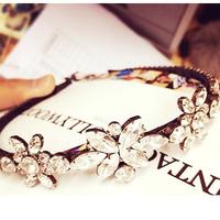 Korean fashion full rhinestone sparkling crystal flower hair band hair accessories