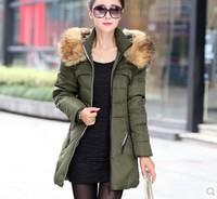 2014 New Fashion Winter Women's Down Jacket Coat Thick Slim Fur Collar Long Coat Casual Parka Women Plus Size Free Shipping 5811