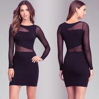 Women Fashion Black Short Style Dress Irregular Gauze Patchwork Slim Waist Round Collar Long Sleeve Sexy Evening Dress D565