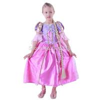 New design Rapunzel TUTU Dress/baby girls Birthday Party Costume /Children Tangled fancy dress with braid Cosplay Costume