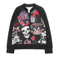 2014 Autumn Women Harajuku Style Personalized Skull Doodle Letter Print Long Sleeve Loose Baseball Jacket Coat Y-1122