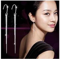 fashion trendy super long three wires hyperbolic tassel earrings sterling silver jewelry #sky-02