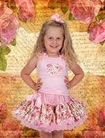 festival wear for children pink flower print fluffy design 2T----12T classic style charming baby girls floral pettiskirt
