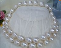 "huge 35""11-14MM SOUTH SEA WHITE PEARL NECKLACE 14k Gold Clasp"
