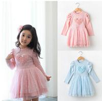 In the autumn of 2014 han edition children's skirt Lovely girl han edition dress veil