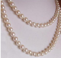 "50 ""8-9MM GENUINE SOUTH SEA NATURAL WHITE PEARL NECKLACE 14K"