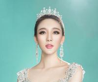 British royal palace retro bridal jewelry hair ornaments zircon rhinestone tiara wedding big shiny crown