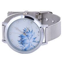 2014 New Wristwatch silver Steel Case Women Dress Watch Lotus Flower Casual Watches Analog Quartz Unisex
