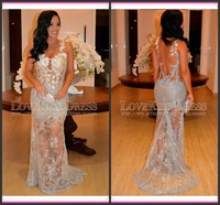 Sexy See Through Lace Mermaid Charming Silver Gray Evening Dresses With Spaghetti Strap Prom Dresses 2015 Vestidos De Fiesta