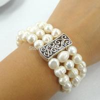 Free Shipping--Wholesale Fashion Jewelery Natrual Freshwater Pearl 3Lines Wide Design Bangle Hand Bracelet Elastic 6pcs/lot