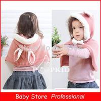 2014 Fashion Caps Gorro Winter Rabbit Baby Girls Hats Cloak Cute Cape Kids Clothing Accessories Top Freeshipping