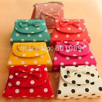 2014 New Women bag Children Princess Handbags 8Color Dot bowknot metal chain Girls' Messenger Bag Shoulder Bags