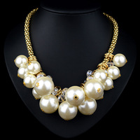 Fashion Charming Lady Best Gifts Large and Small Pearls Statement Chocker Necklace JS-NZ0190