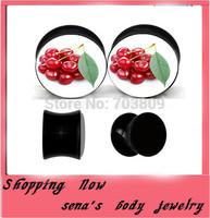 Black cherry logo flesh tunnel double flared ear gauge plug body jewelry 160pcs/lot Free Shipping ear expander wholesale
