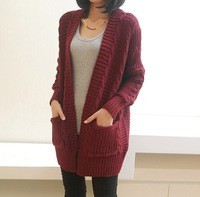 2014 Hitz Korean women loose big yards long section of thick long-sleeved V-neck sweater twist