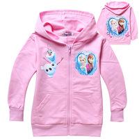 Kids Girls New Autumn Frozen  Anne Princess Aisha Queen children sweater coat Cotton Coat Children hoody with hat  Sweatshirts