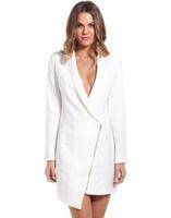 Free shipping 2014 autumn news women long design blazer sexy V-neck irregularity zipper overcoat l1368