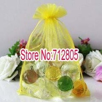 Wholesale 100pcs/lot 13x18cm Lemon yellow Large Organza Bag Sheer Pouch Jewelry Gift Bags Free Shipping