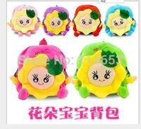 Free shipping   Flowers baby sunflower plush cartoon double children backpack bag